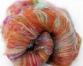 Reserved for CRYS Cinnabar 2.4 oz  Wool - Targhee // Nylon Art Batt // Wool Art Batt for spinning or needle felting NO SPARKLE