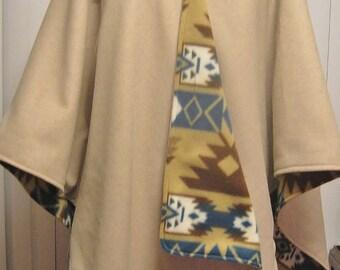 Reversible Wool Blend Ruana Wrap Cape Poncho in Pretty Linen Color to Southwestern Tribal Fleece in Multi Color