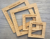 Gauge Swatch Measurement Ruler Square Tool for Knitting or Crochet Bamboo
