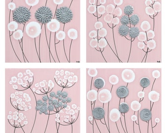 Pink and Gray Nursery Wall Art Flower Paintings - Four Square Canvases for Baby Girl - Medium 25x25