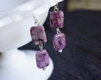 Elegant Purple Drop Earrings