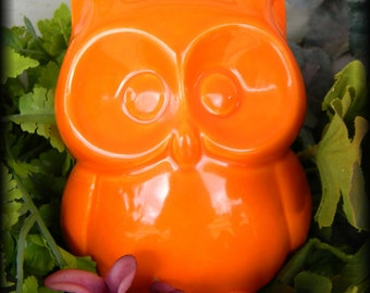 Ceramic  Owl Statue in bright orange Owl Nursery decoration baby, home or garden statue cm