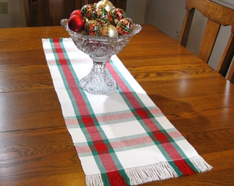 "42"" Christmas Plaid Table Runner 42"" Table Runner Christmas Hand Woven Table Runner Coffee Table Runner Red, White and Green Table Runner"