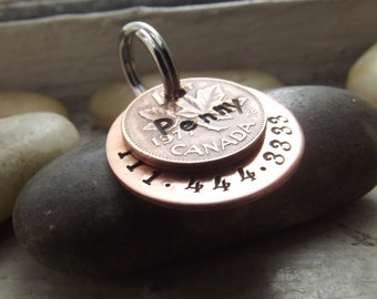 Lucky Penny dog tag, Pet Id tag, Penny pet tag, Pet owner gift, Memorial tag, Lucky penny Tag