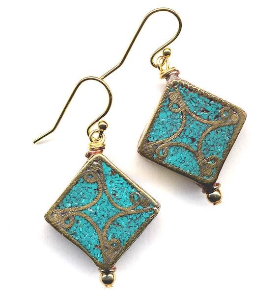 Nepal Earrings,Tibet Turquoise  Earrings, Nepal Beads on 18K Gold Filled Wire, Nepal Jewelry by AnnaArt72