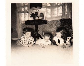 vintage photo Children Playing in Floor Home Interior 1940s snapshot Boy Girl Baby