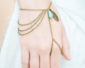 CLEARANCE SALE Hand Chain Bracelet Piece Hipster Bronze Chain Boho Bohemian Feather Leaf Charm Turquoise Bead  Finger Hand Jewelry