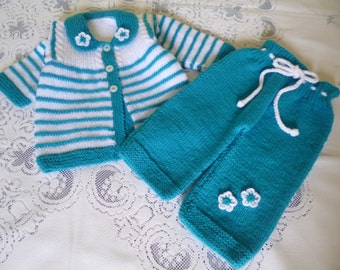 Knit Baby  Outfit, Four Pieces  Newborn Set,   Reduced Price Baby Set, Coming Home Ensemble, Antiallergic Set.