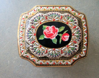 Vintage Tin, Lidded Tin, Jewel Colors, Rose Tin, Red and Gold, Floral Tin, Made in England, Hinged Lid, Vintage Storage, English Tin Flowers