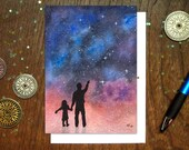 Father Daughter Stargazers Card | Inspirational Father's Day Card | Science Dad Card | Geek Dad Card | Astronomy Card | Dad Birthday Card