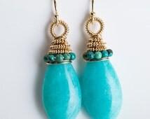 Adami: Coiled Drop Earrings, Amazonite & Turquoise, Aqua Blue, AAA Gemstones, Gold-filled, Bright, Dangle, Medium Long