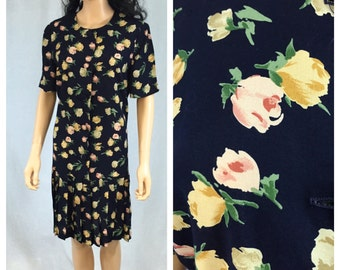 Vintage Navy Blue Floral Dress. Drop Waist. Pleated Skirt. Size 10. Leslie Fay. 1980s. Pink Yellow Roses. Under 30 Dresses. Short Sleeve.