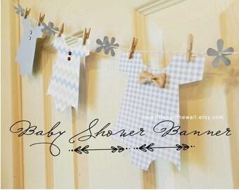 KIT Boy Baby Shower Banner / Baby Onesie Garland / Baby Shower Decoration / Nursery Decoration / Baby Shower Party / Baby Onesie / Its a Boy
