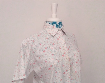 50% off storewide SALE vintage 1950's blouse // floral 50s top // peach and aqua shirt by Danfra