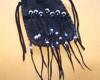 Decorated Deerskin Leather Medicine Bag....BLACK