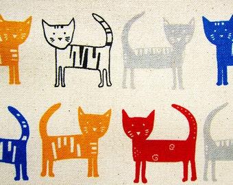 Animal Print Fabric - Cotton Linen Blend Fabric - Rainbow Cats on Natural - Half Yard