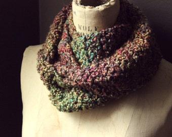 "Rustic, Bohemian, Folk, Teal, Fushia, Yellow, Sage Green and Violet Hand Crocheted Infinity Scarf. ""Wildflower""."
