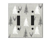 Woodland Switchplate Cover, Gray White Nursery, Minimalist Nusery, Electrical Outlet Cover, Light switch covers, deer head rocker cover