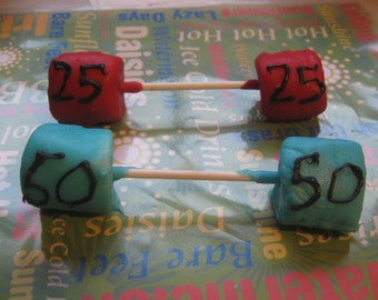 6 dumbbell weights chocolate covered marshmallow party favors