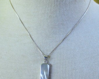 MOP STERLING Silver Necklace Signed 925 Italy Vintage