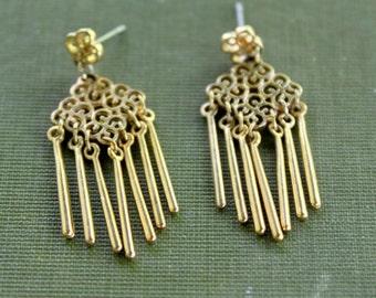 Boho FRINGE Earrings Gold Tone Dangle Vintage Tassel