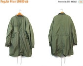 Drab Green FishTail Parka USA Army Coat with Quilted Lining M65 Military 80s Anorak Oversized Grunge Zip Up Trench Coat Mens Medium Large