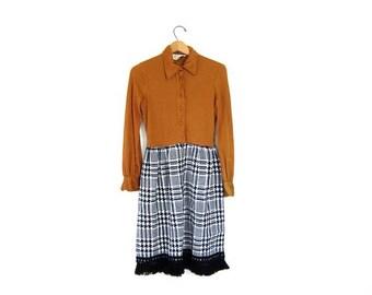 Black White Tweed Skirt Dress 1960s Copper & Fringe School Girl Dress Vintage Midi Dress Modern Mod Preppy Dress Womens Small