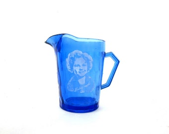 Shirley Temple Creamer cobalt blue glass Milk bottle Small antique Pitcher 1930s