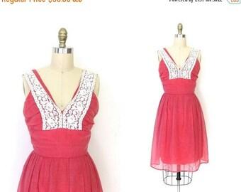 Pink 60s Sun Dress LACE BIB Lolita Sundress 1960s Plunging Sweetheart Neckline Boho Vintage Party Minidress Bohemian Extra Small xs