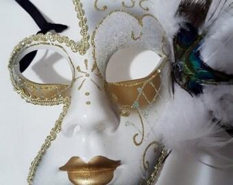 "Venetian Art Mask Canvas Base Vintage Unused small size face Petite 9"" X 6"" aprox Handmade old fashion way Mascarade Phantom On SaLe Now"