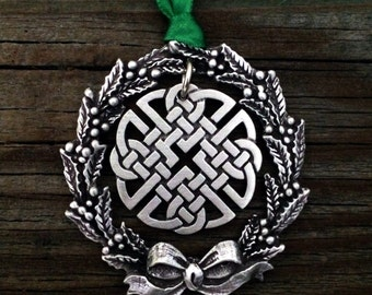 Christmas Wreath with Celtic Knot Christmas Ornament Celtic Christmas Decoration by Treasure Cast Pewter