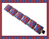 GRAPHIC Kay Denning Modern Enamel Bracelet Red on Blue Checks/Stripes Vintage Jewelry,Women