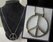PEACE Now-Large Hammered Sterlng Silver Peace Pendant on Chain,HIppie Modernist Necklace,Vintage Jewelry,Unisex