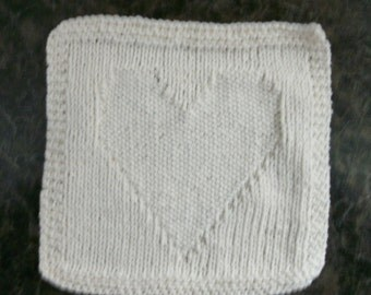 Hand Knit Dishcloth - color is Soft Ecru - Measures approximately 8x81/2 inches