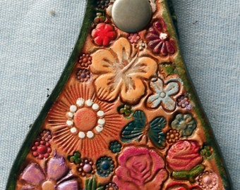 Leather Key Fob with Pastel Flowers Butterfly  and Ladybug with Green Border Made in GA USA OOAK