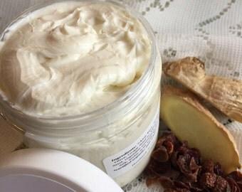 HEMP + Mango Goat Milk lotion | Ginger + Rose essential oil | moisturizing fragrant cream travel GLASS jar | organic whipped body butter