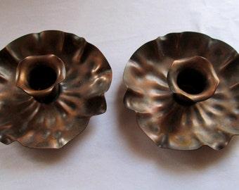 Vintage Gregorian Candle Holders Copper Flowers