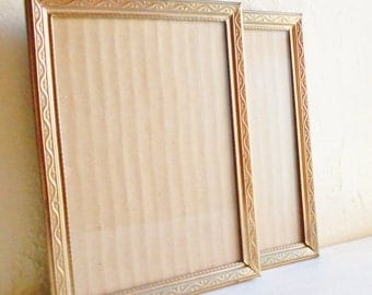 Matching Pair of Unique Vintage Gold Metal Picture Frames 5x7 Set 2 Two