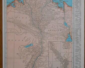 Vintage Map of Egypt, 1940s original old Atlas Map