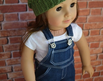 18 inch Doll Clothes - Dark Wash Overall Blue Jean with real pockets - Country Style - boy or girl dolls - fit American Girl - MADE TO ORDER