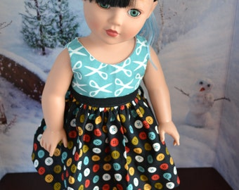 18 inch Doll Clothes - Sewing Basket Colorblock Dress - AQUA BLACK RUST - Buttons Scissors - Crafty - Organic Fabric - fits American Girl
