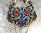 Vintage Cloisonne Belt Buckle Assemblage Necklace