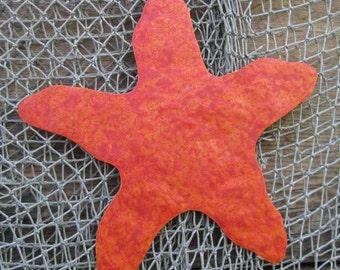 Metal Wall Art Starfish Sculpture - Recycled Metal Ocean Theme Marine Beach House Coastal Decor  Red Orange  11x11