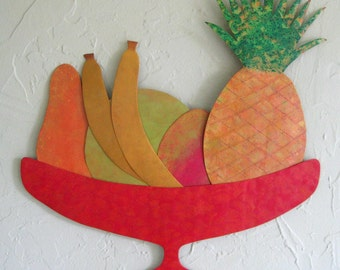 Metal wall art sculpture - Tropical Fruit -  reclaimed metal kitchen wall art 17 x 17 exotic wall decor pineapple orange