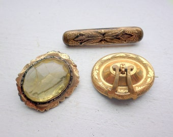Lot of Three Edwardian Pins - Crystal - Period Pieces - As Is.