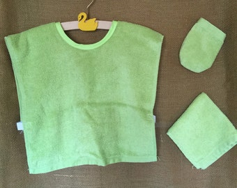 Montessori Apron Set in Lime Green Terrycloth (for Practical Life and Water Activities)