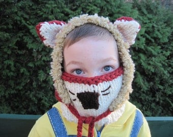 Fox hood and face cover (2 pieces) - hand knit - 6 months to adult sizes - choose your colour