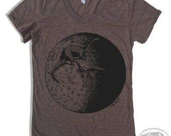 Womens Dinosaur MOON T Shirt american apparel S M L XL (16 Colors Available)