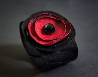 50% OFF SALE Stylish leather flower wide bracelet cuff Black and red
