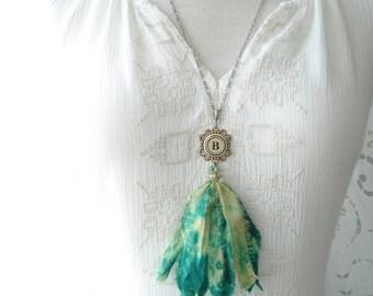 Typewriter Key Necklace. Letter B Necklace. Vintage Typewriter Key Jewelry. Long Sari Silk Tassel Boho Beaded Necklace. Eco Friendly Gift.